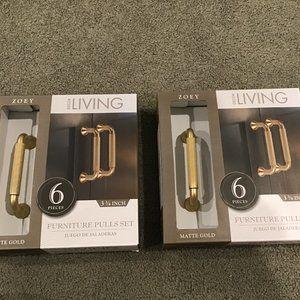 Decor Living 6 Pcs Furniture Pulls Set Matte Gold